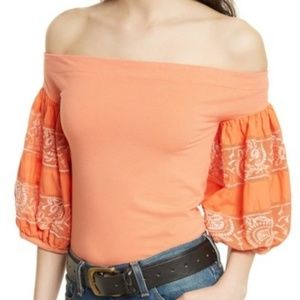 Free People Rock With It Off-the-Shoulder Blouse